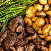 Asparagus, Potatoes and Steak