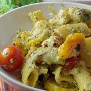Ricotta, Basil Pesto Over Pasta and Zucchini